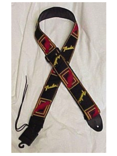 Fender Monogrammed Strap Black, Yellow, Red